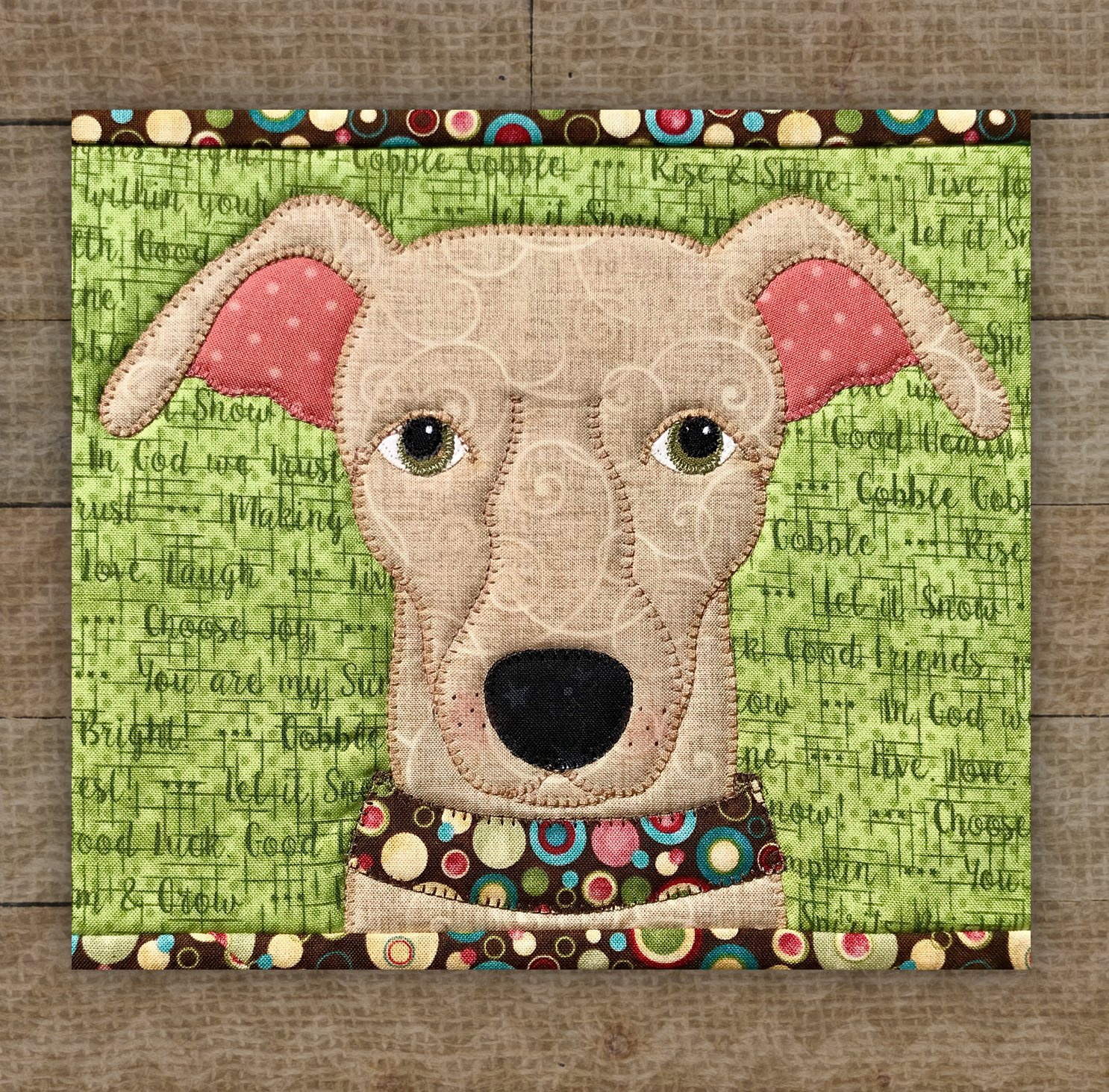 Greyhound Brown Precut Fused Applique Kit
