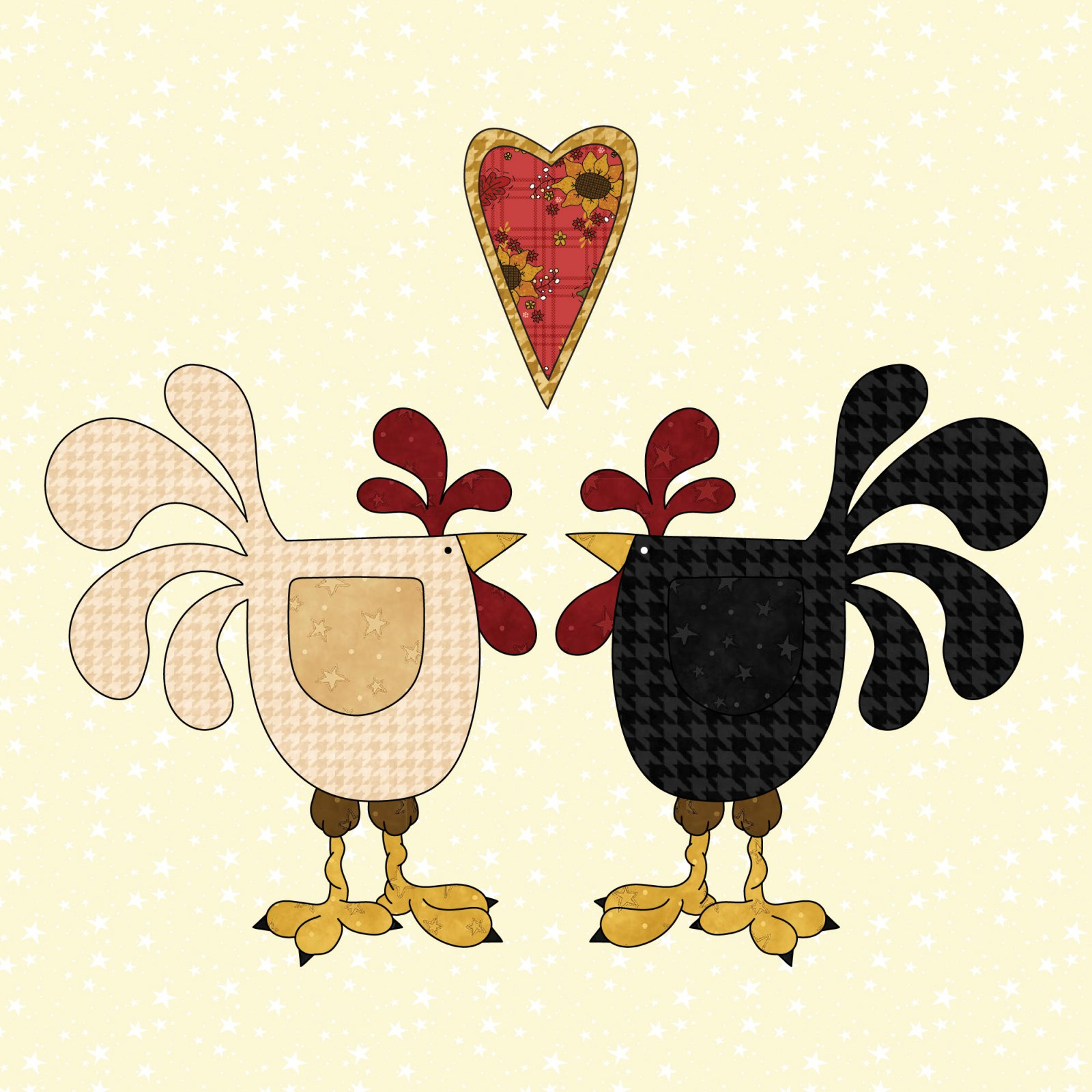 Chickens & Heart Precut Fused Applique Kit