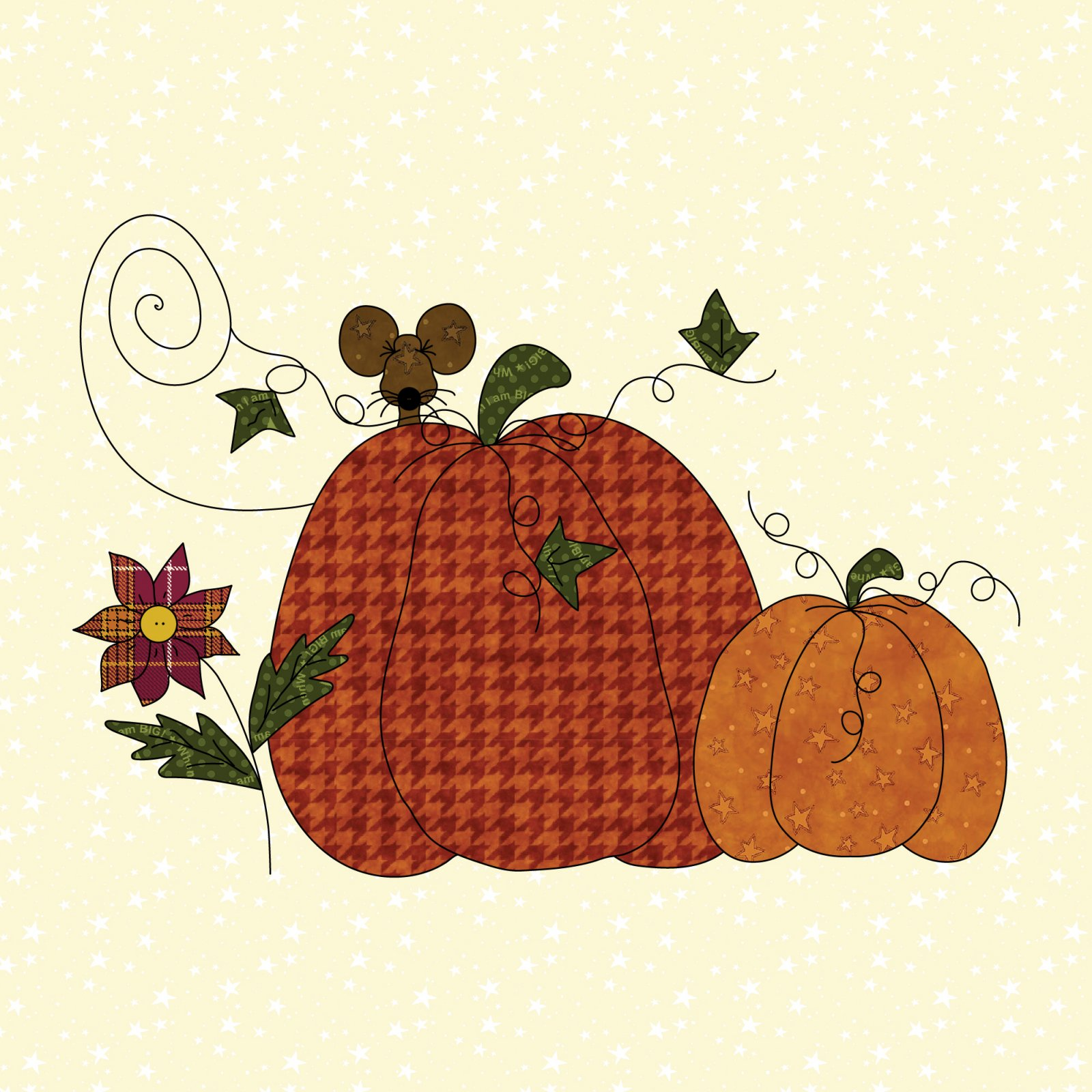 Pumpkins Mouse & Flower Precut Fused Applique Kit
