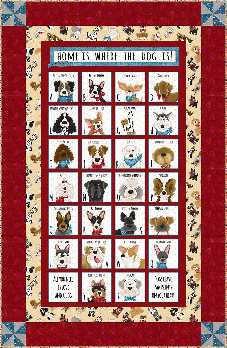 Home Is Where the Dog Is Alphabet Panel Quilt