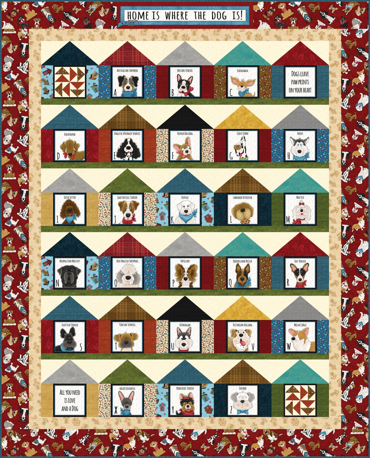 Home Is Where the Dog Is Pieced Quilt Kit