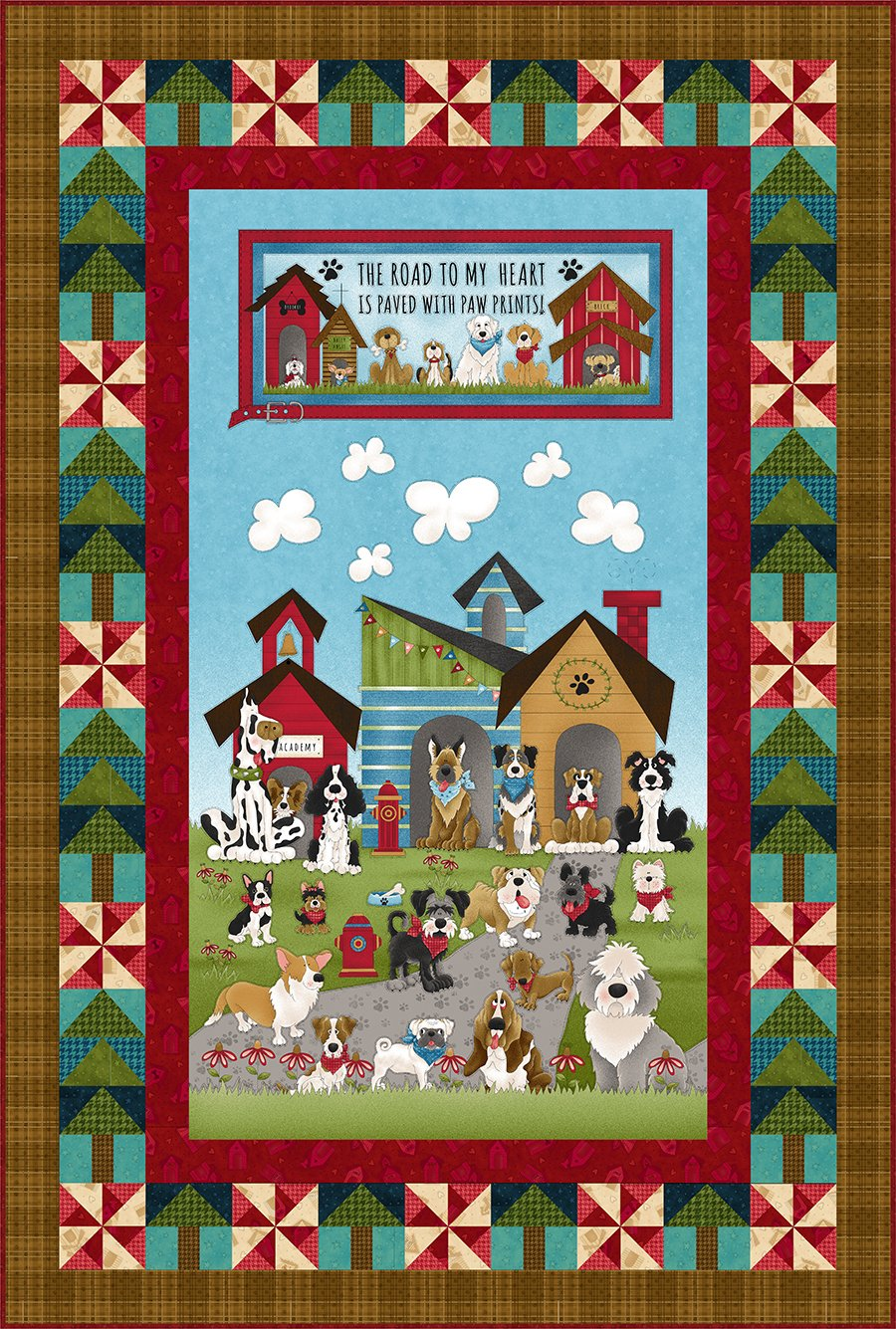 Home Is Where the Dog Is Panel Quilt (no border stripe)