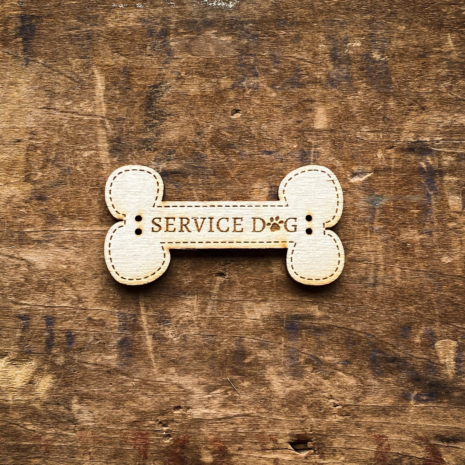 Service Dog Bone Button