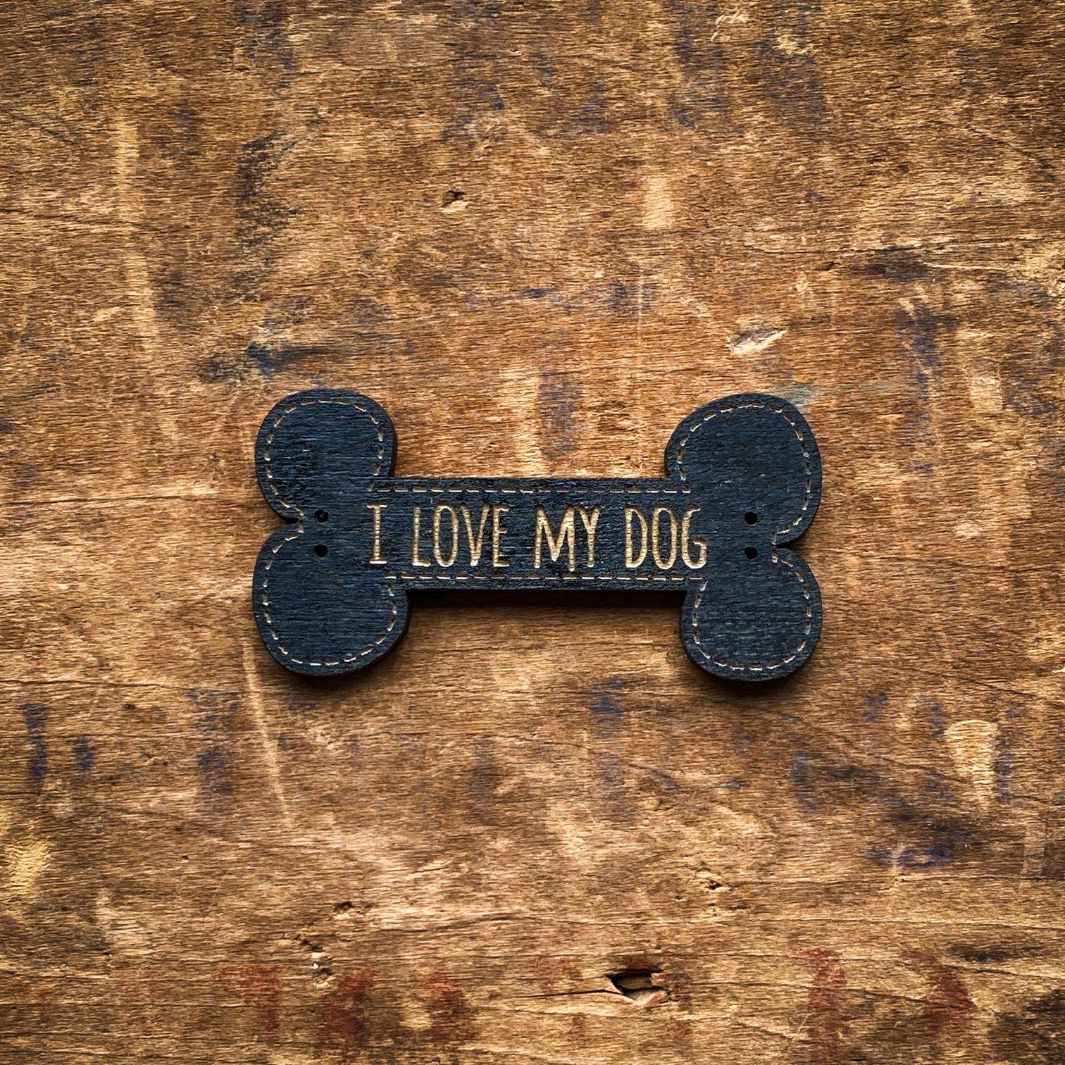 I Love My Dog Bone Buttons