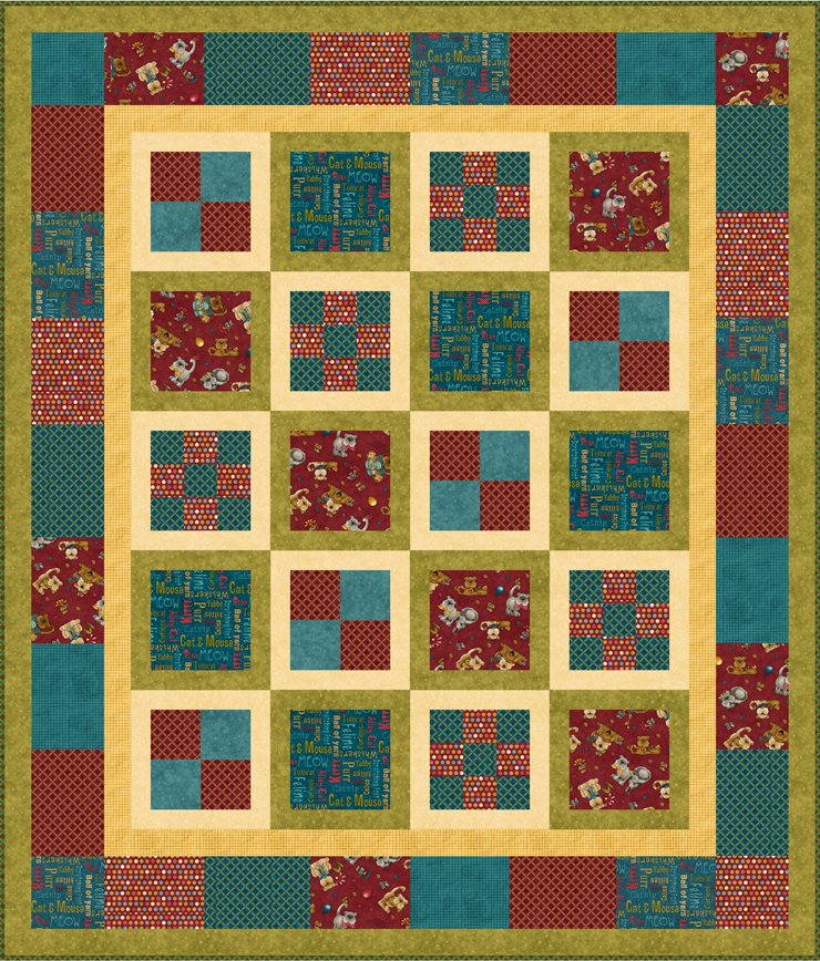 Kitty Kat Kapers Block in a Block Quilt