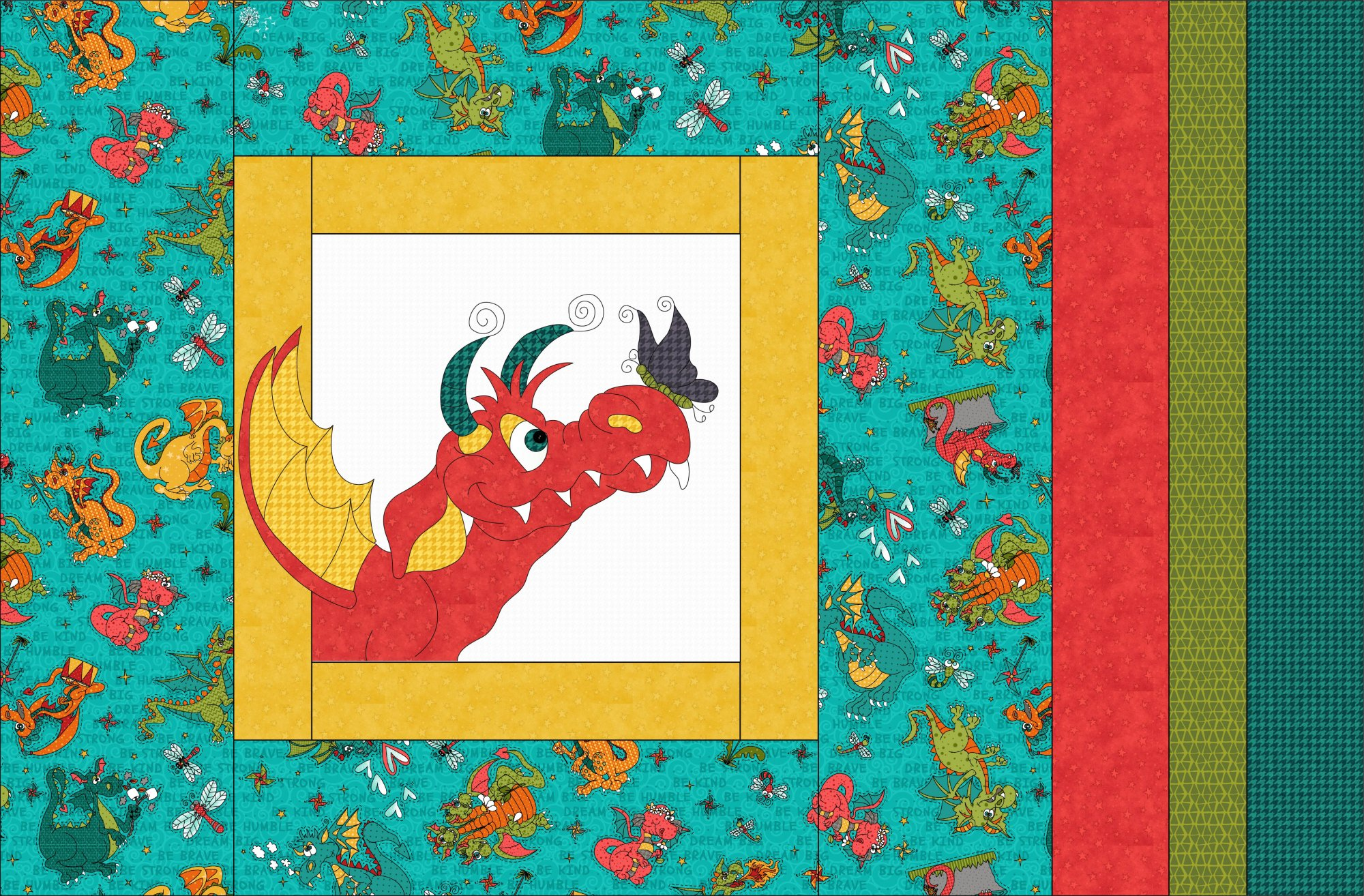 Large Applique Pillowcase - Dragon Kits