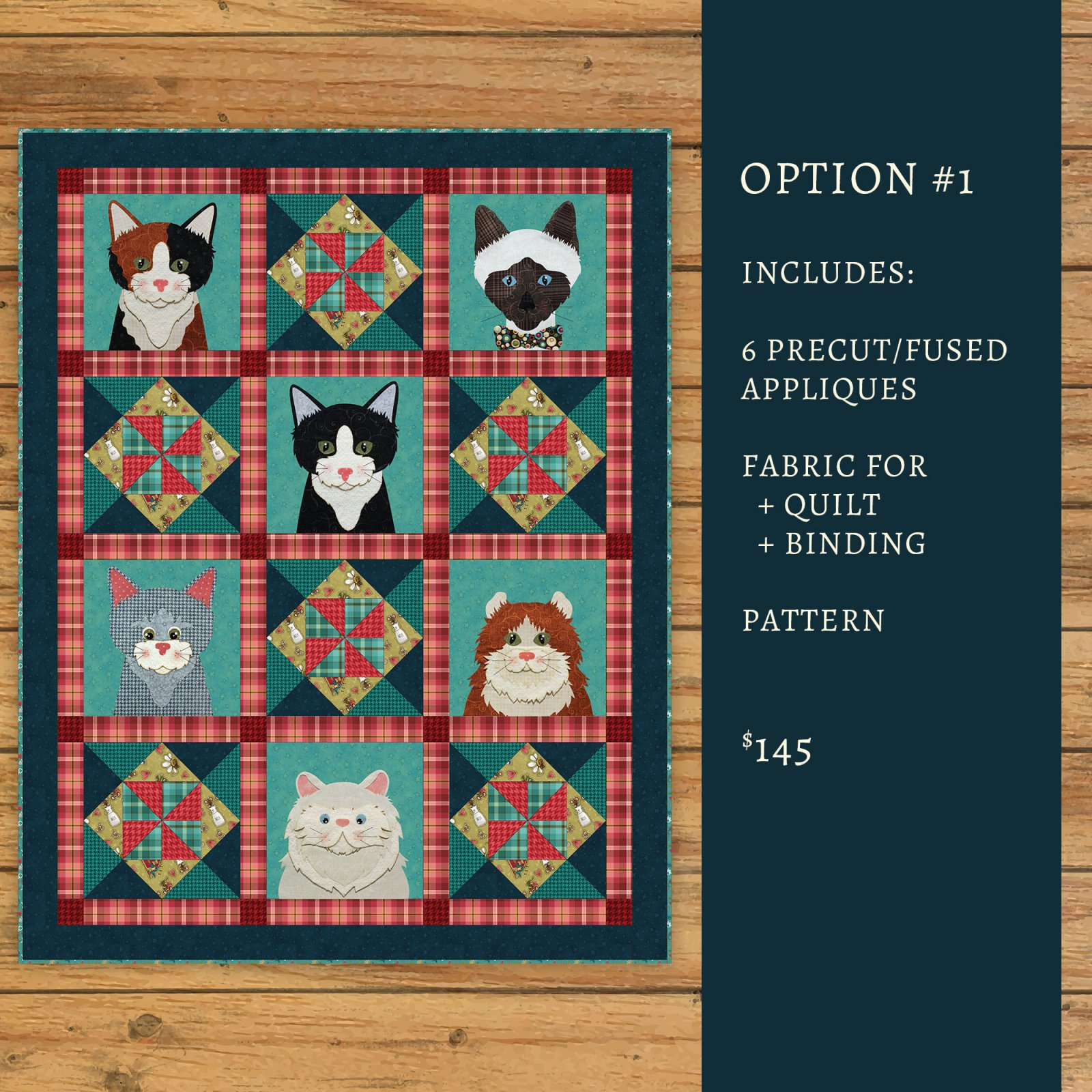 Live Love Meow Applique Quilt Kit
