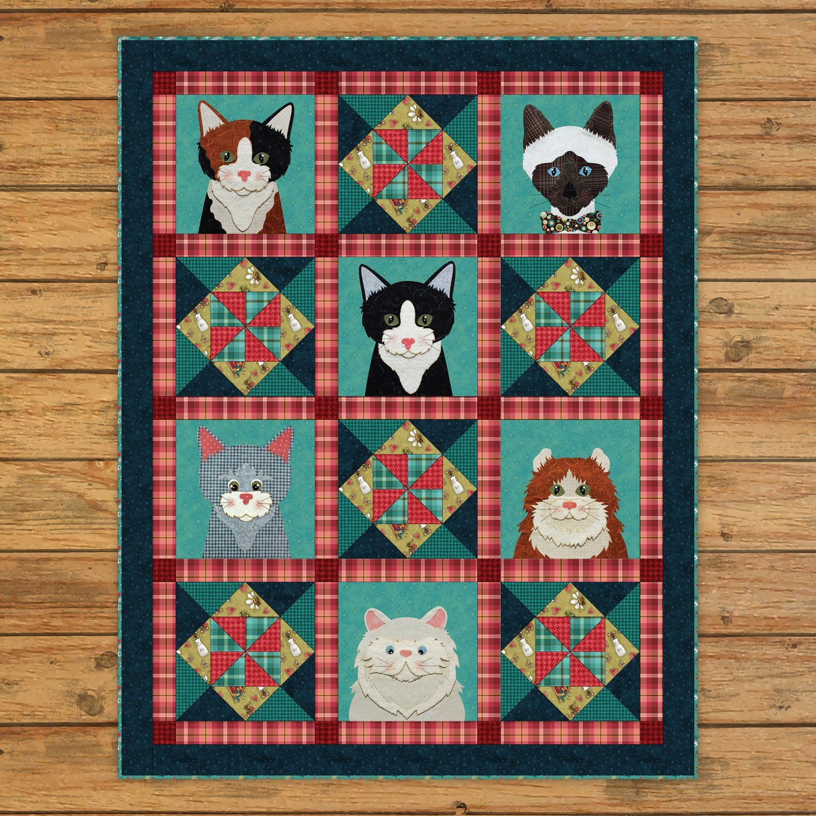 Live Love Meow Applique Quilt