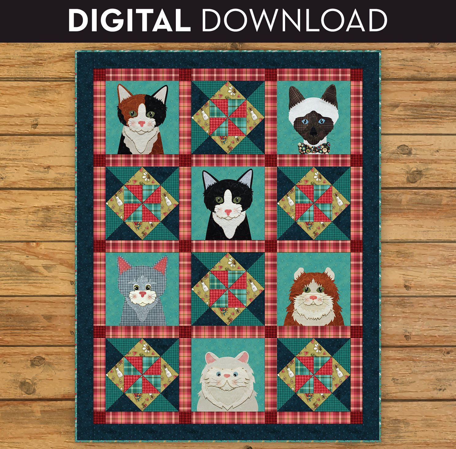 Live Love Meow Applique Quilt - Download