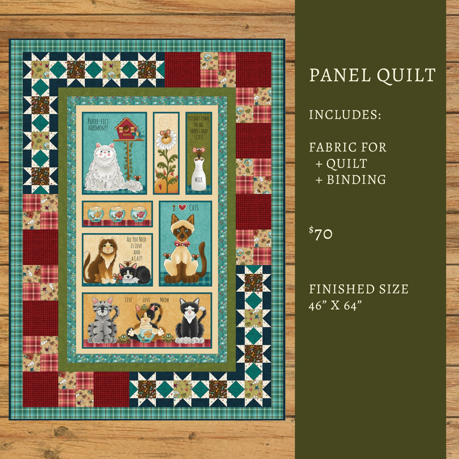 Live Love Meow Panel Quilt Kit