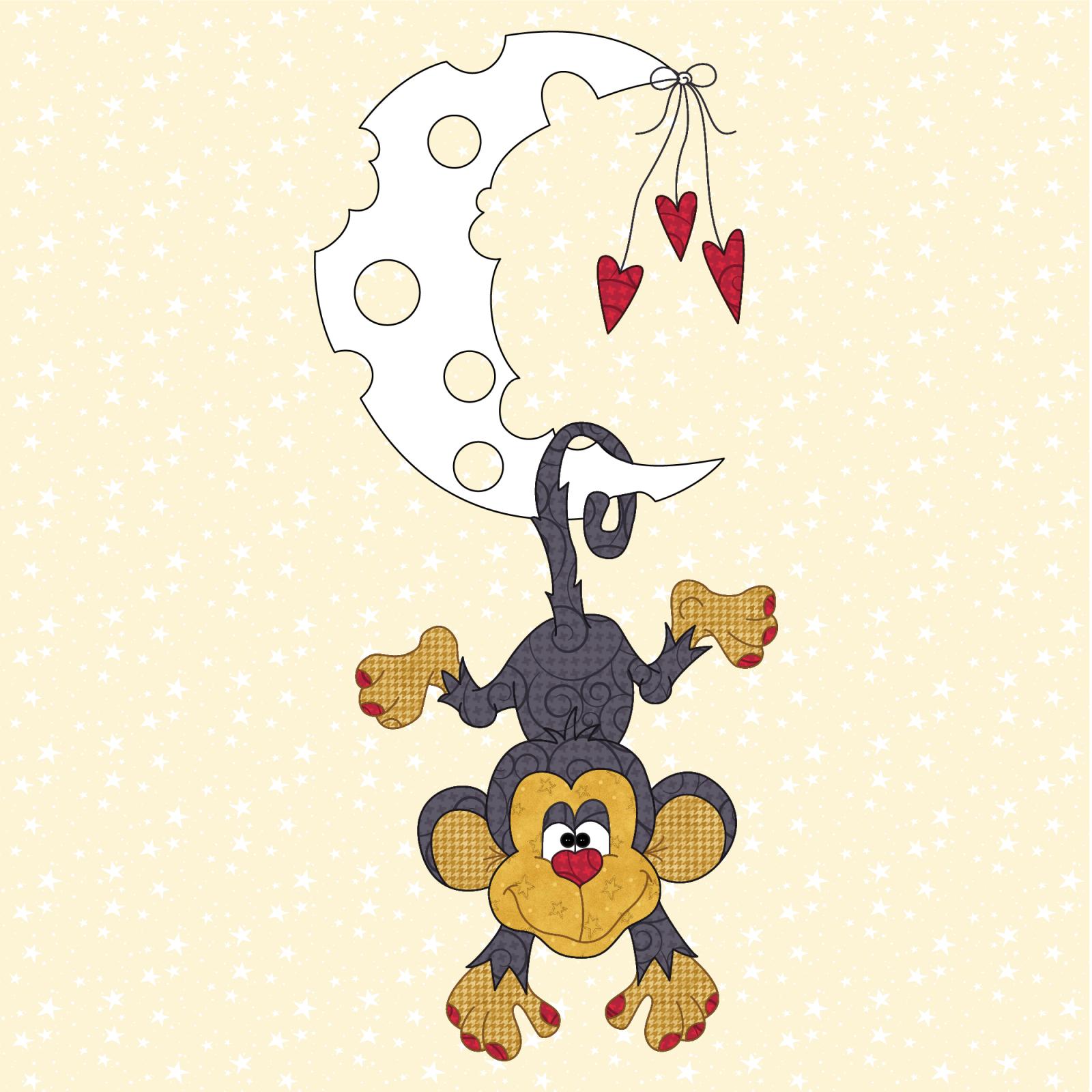 Monkey & Moon Precut Prefused Applique Kit