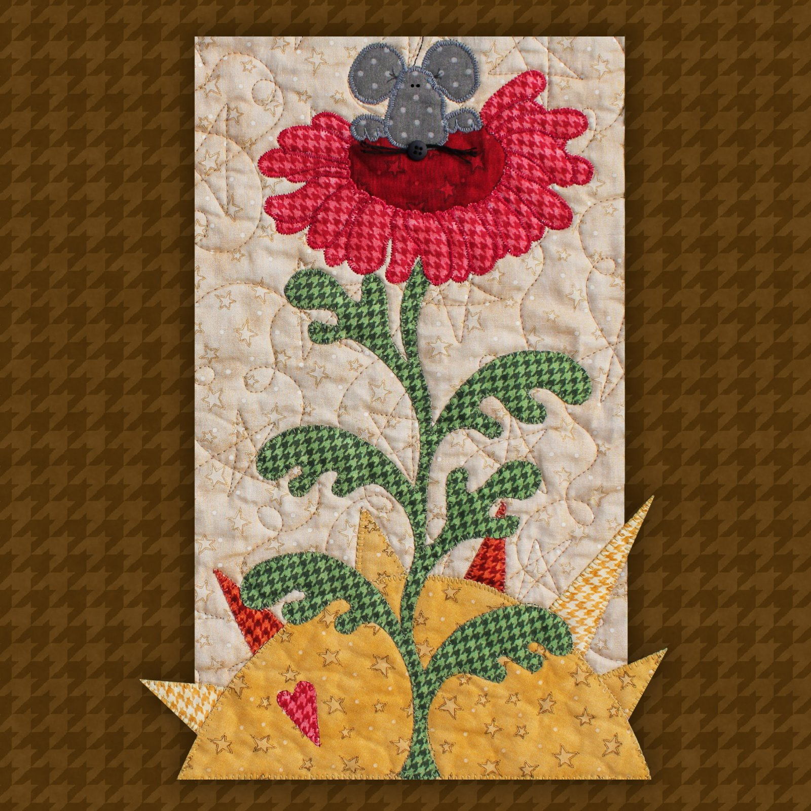Mouse on Flower Precut Fused Applique Kit