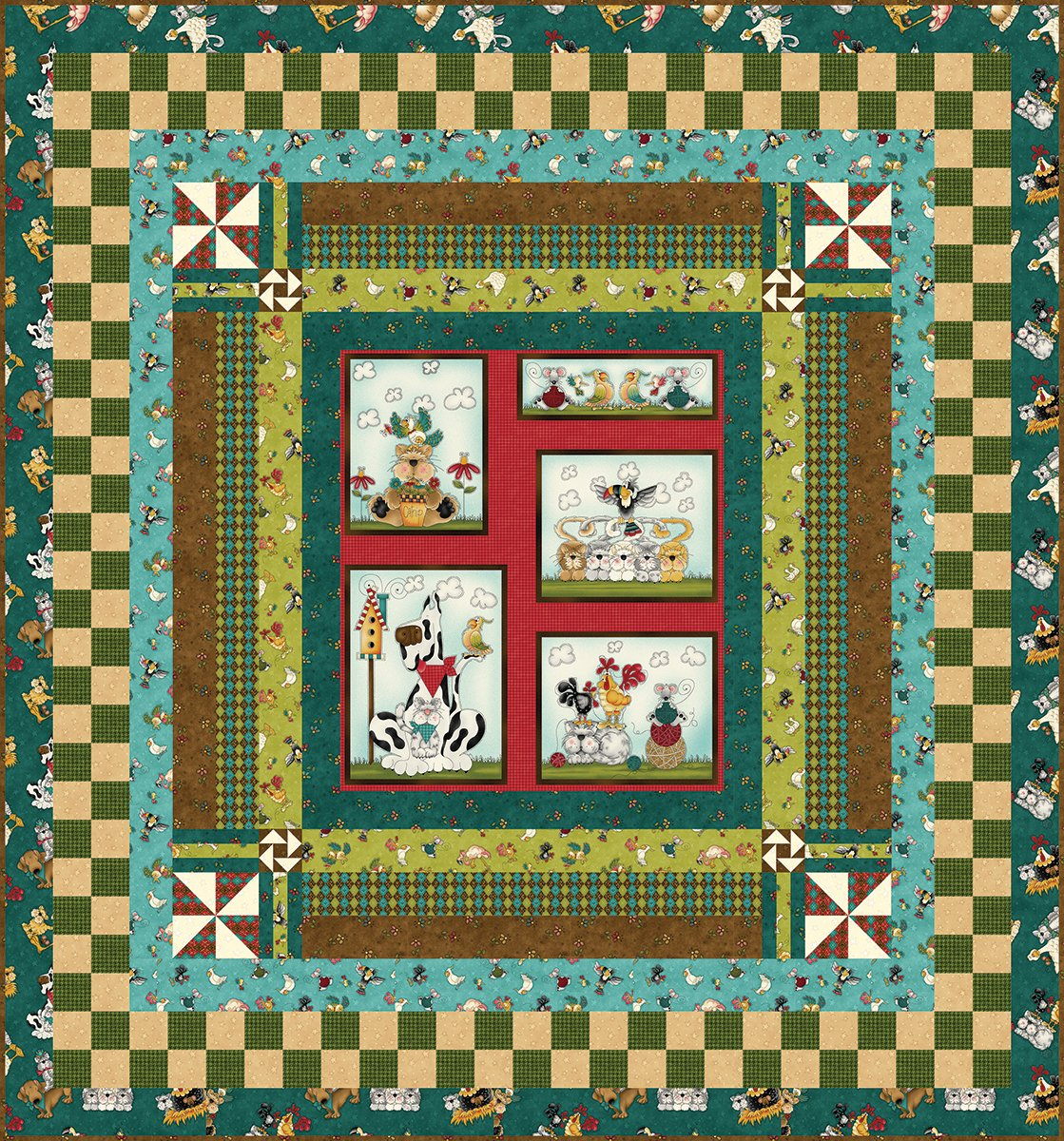 No Fowl Play Half Panel Quilt - Blue