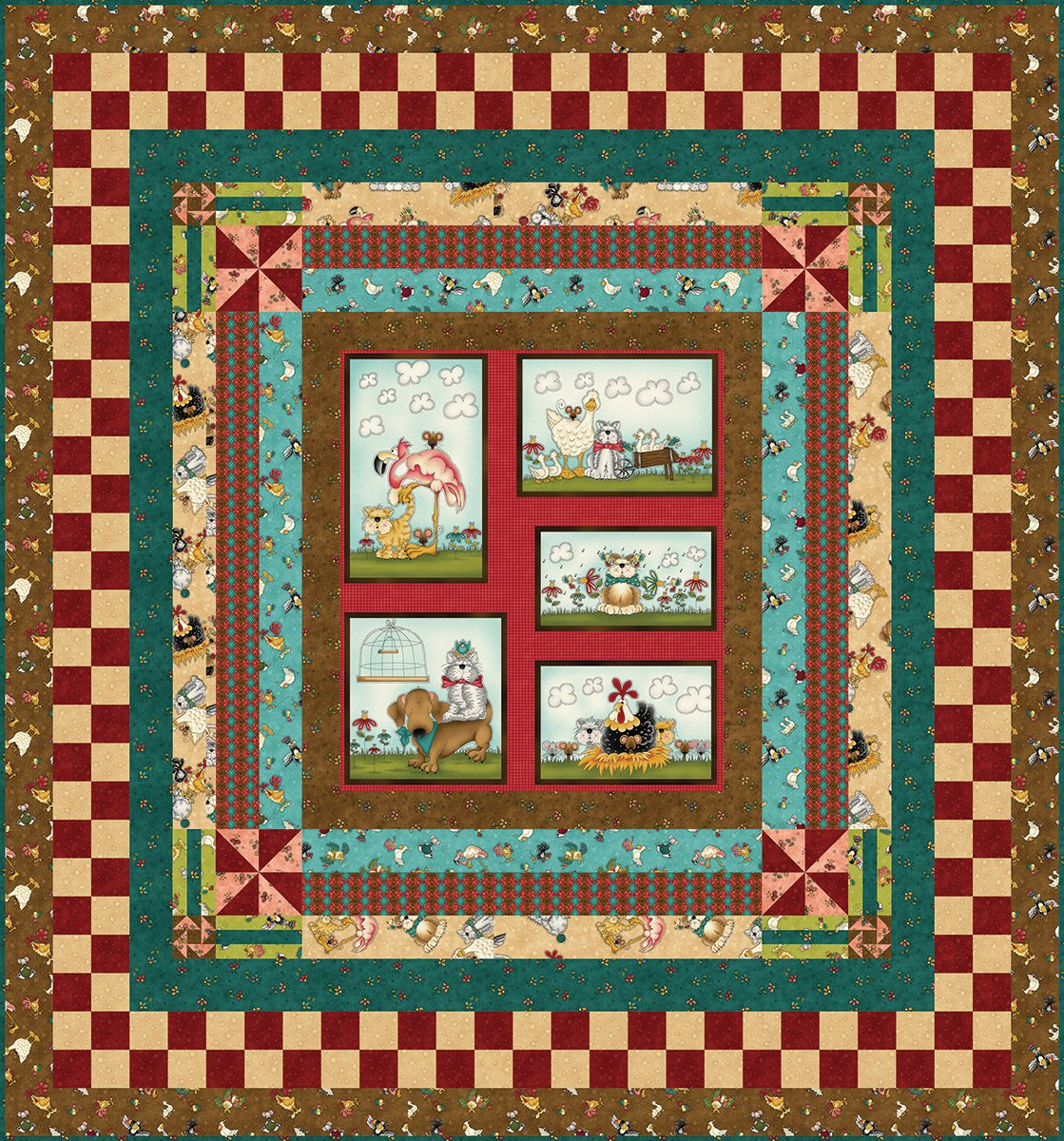 No Fowl Play Half Panel Quilt - Brown
