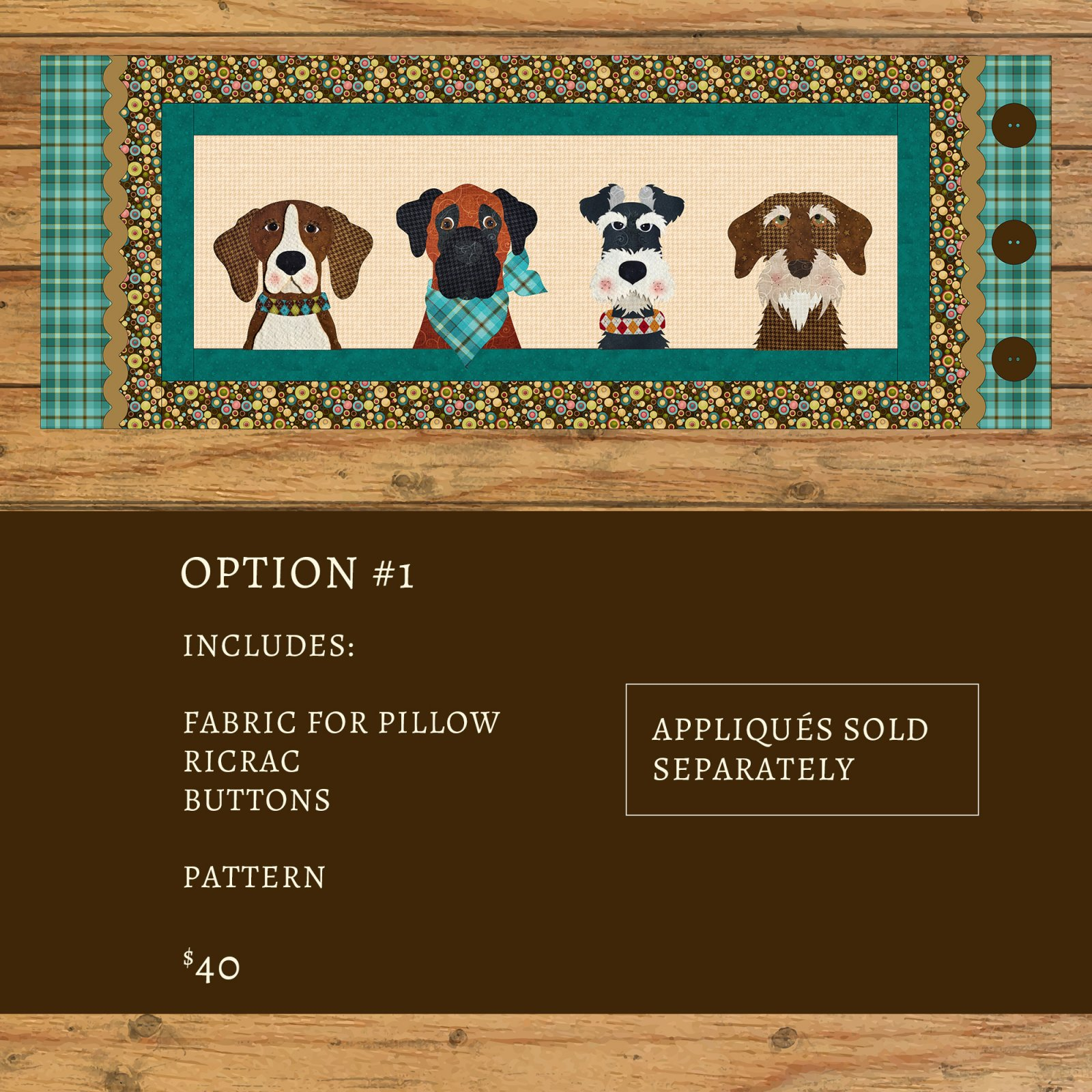 Furry Friends Applique Bench Pillow Kit