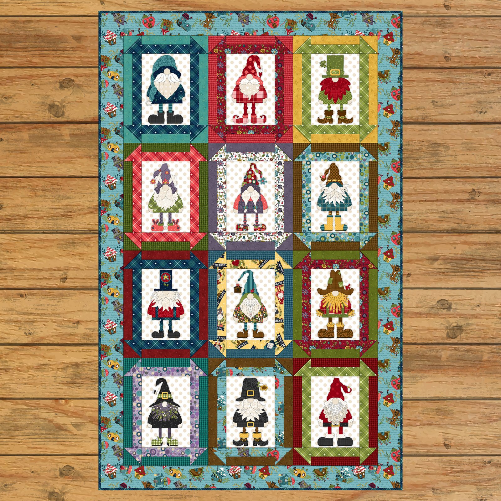 Gnome for the Holidays Panel Quilt Kit Option #1