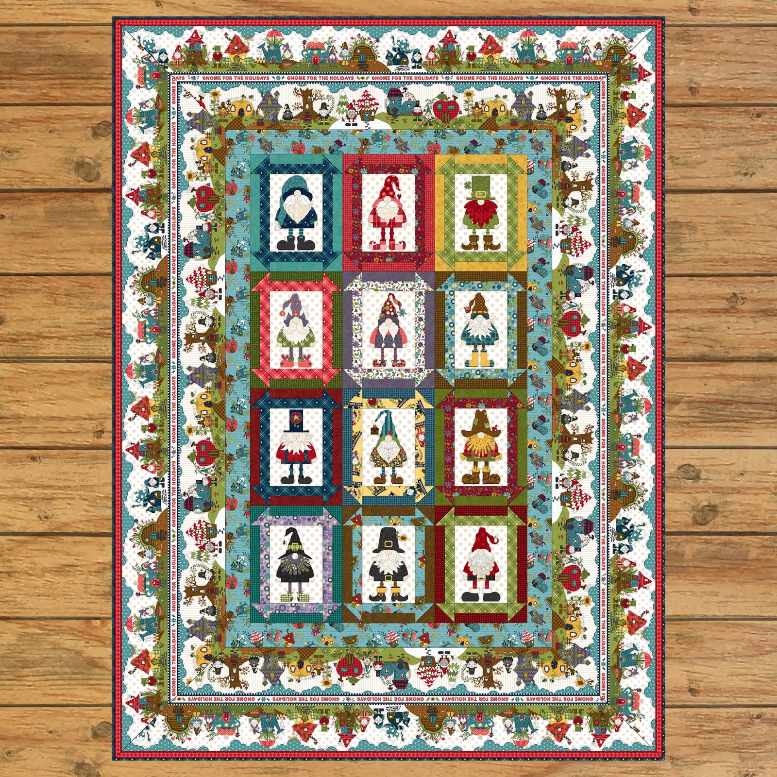 Gnome for the Holidays Panel Quilt Kit Option #2