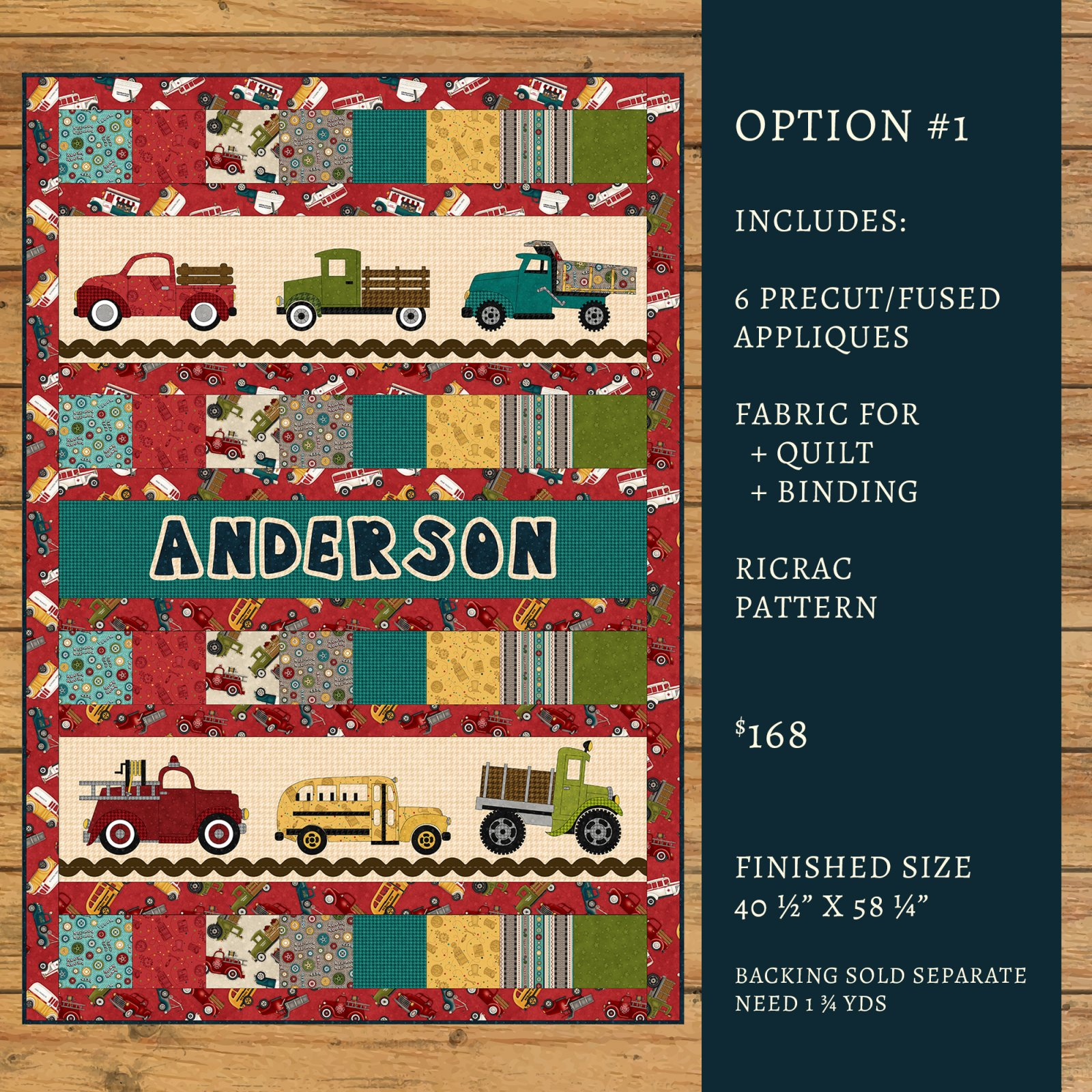 Papa's Old Truck Applique Quilt Kit