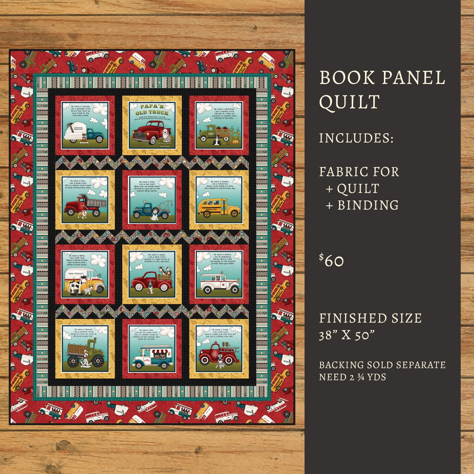 Papa's Old Truck Book Panel Quilt Kit