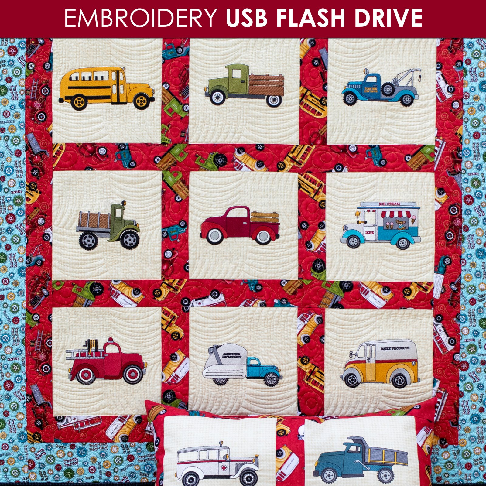 Papa's Old Truck Embroidery - USB