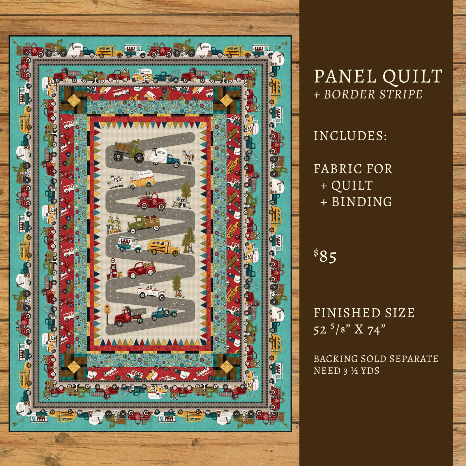 Papa's Old Truck Panel Quilt Kit #2