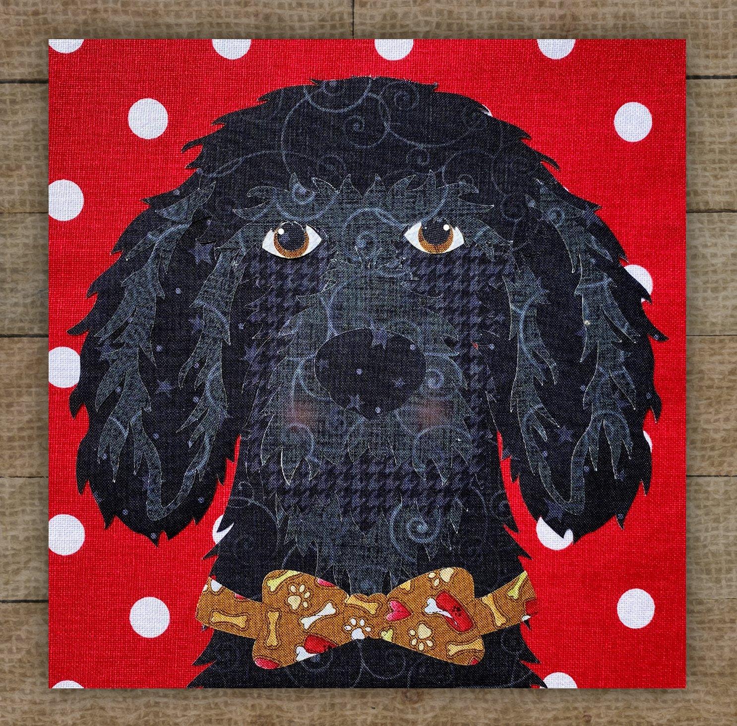 Portuguese Water Dog (Black) Precut Fused Applique Kit