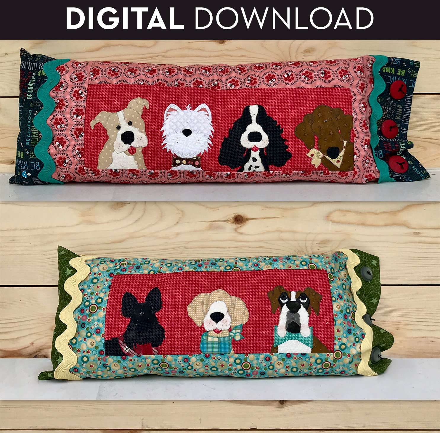 Puppy Bolster Pillows - Download
