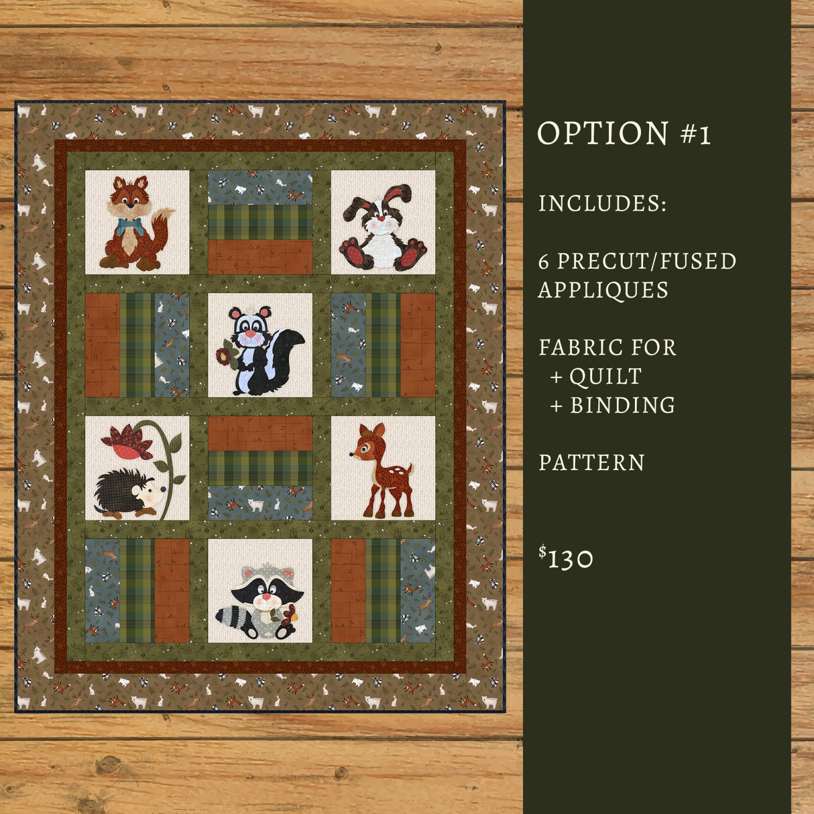 Flannel Woodland Critter Quilt Kit