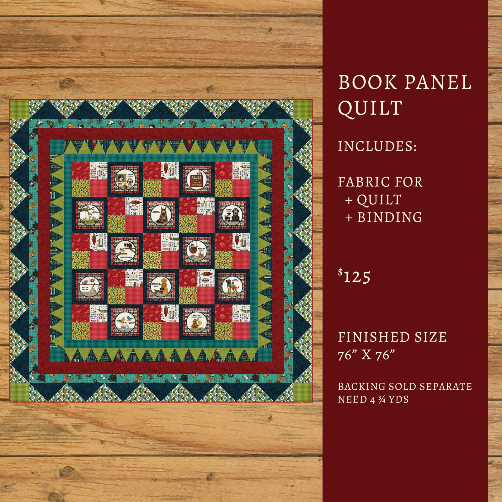 Rescued & Loved Book Panel Quilt Kit