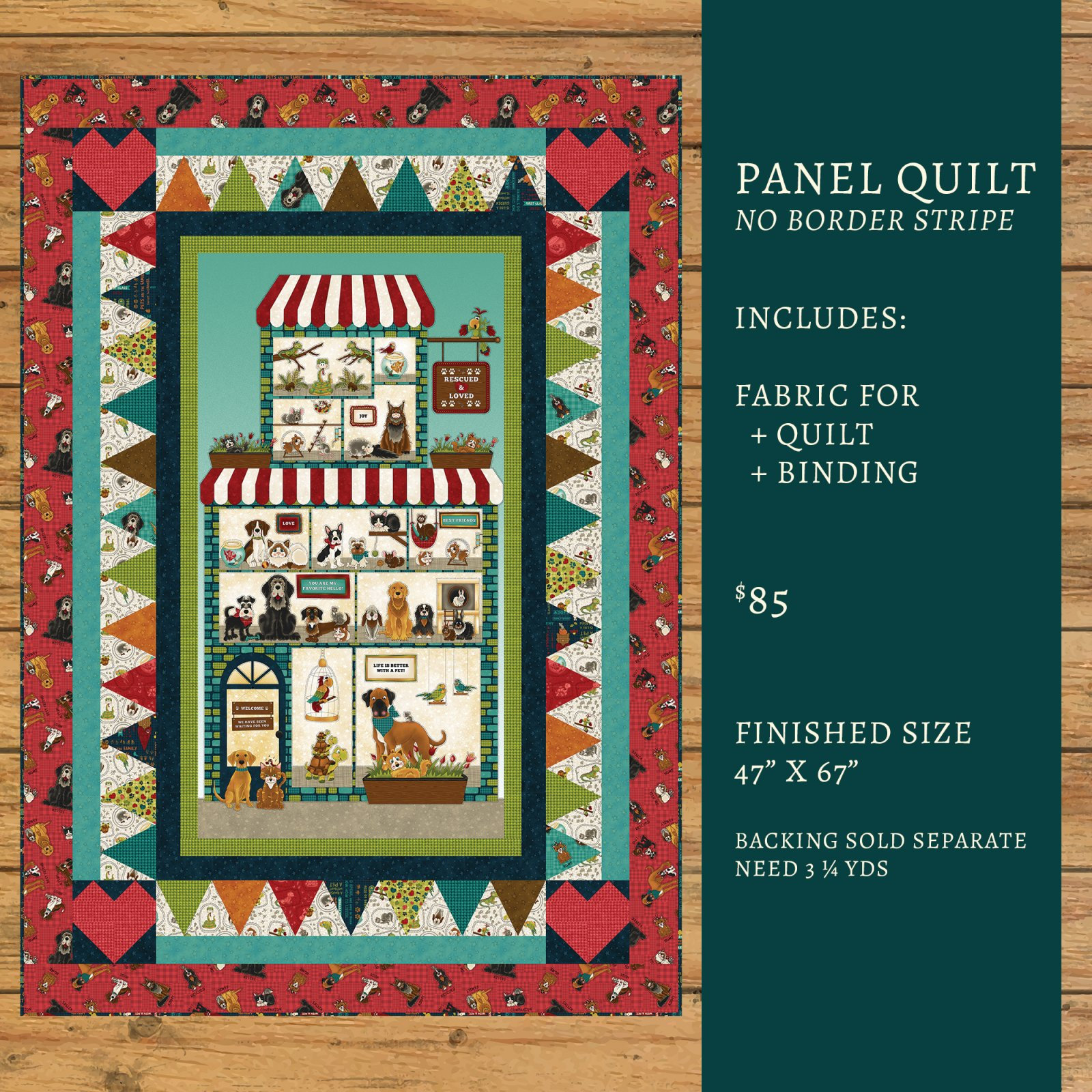 Rescued & Loved Panel Quilt Kit Option #1
