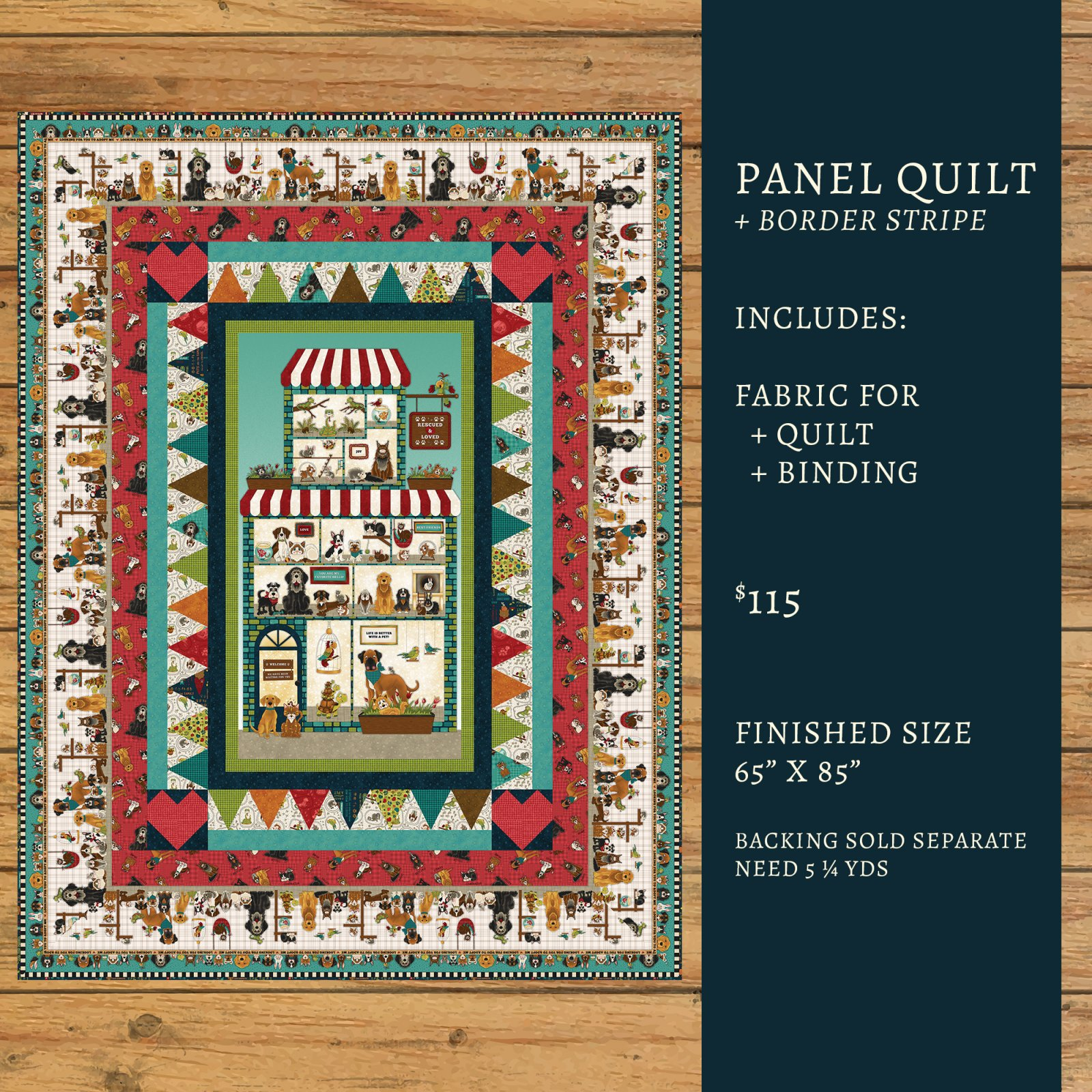 Rescued & Loved Panel Quilt Kit Option #2