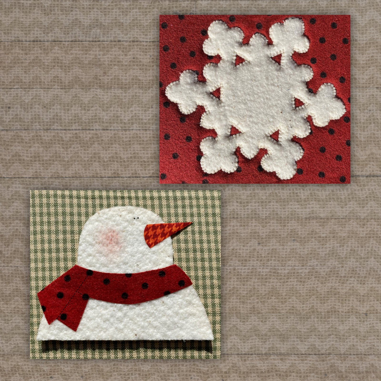 Snowflake & Snowman Precut Fused Applique Pack