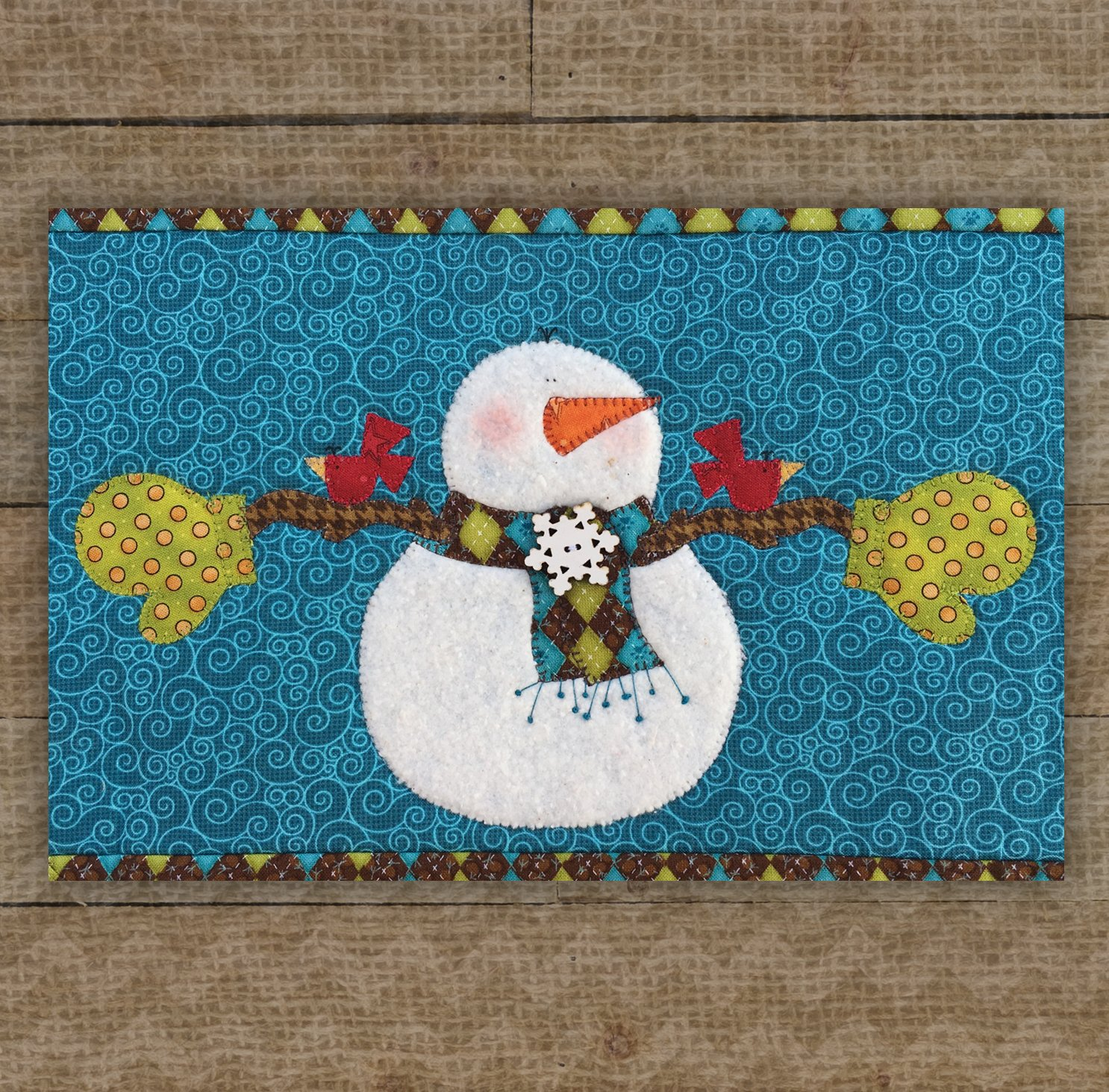 Snowman & Birds Precut Fused Applique Kit