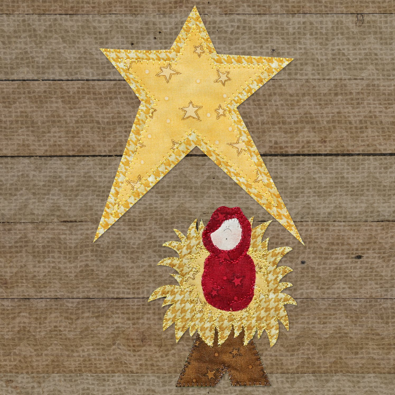 Baby Jesus & Star Precut Fused Applique Kit