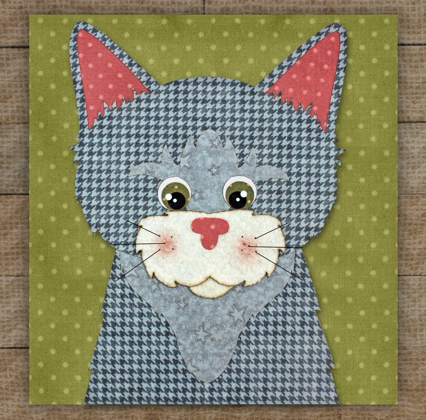 Tabby Cat Precut Fused Applique Kit