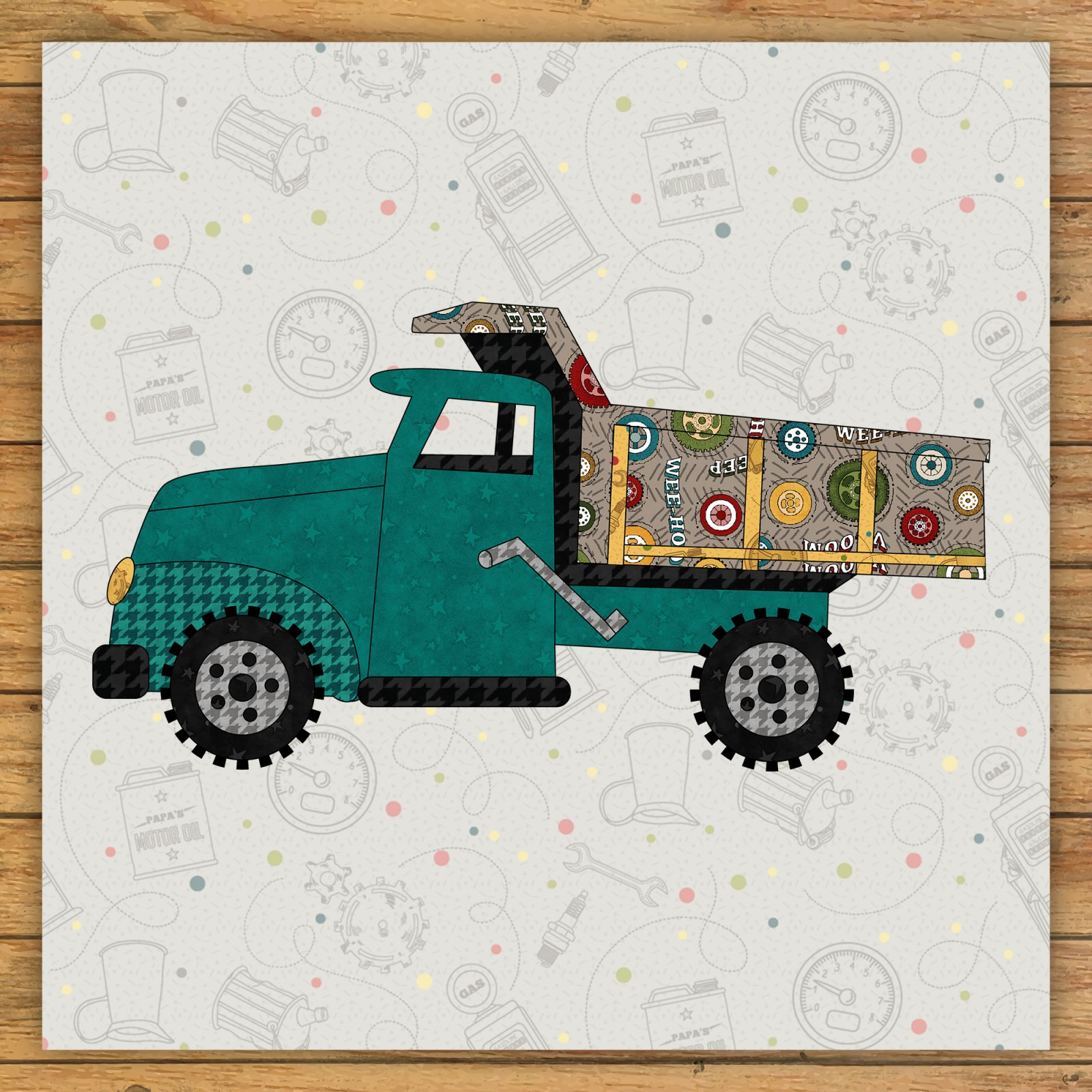 Dump Truck Precut Fused Applique Kit