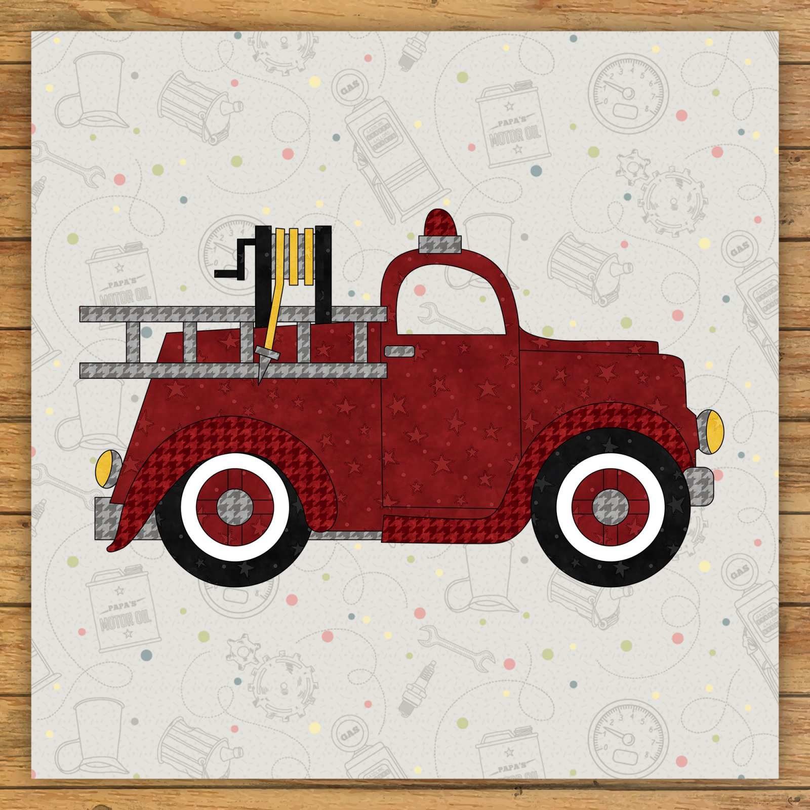 Fire Truck Precut Fused Applique Kit