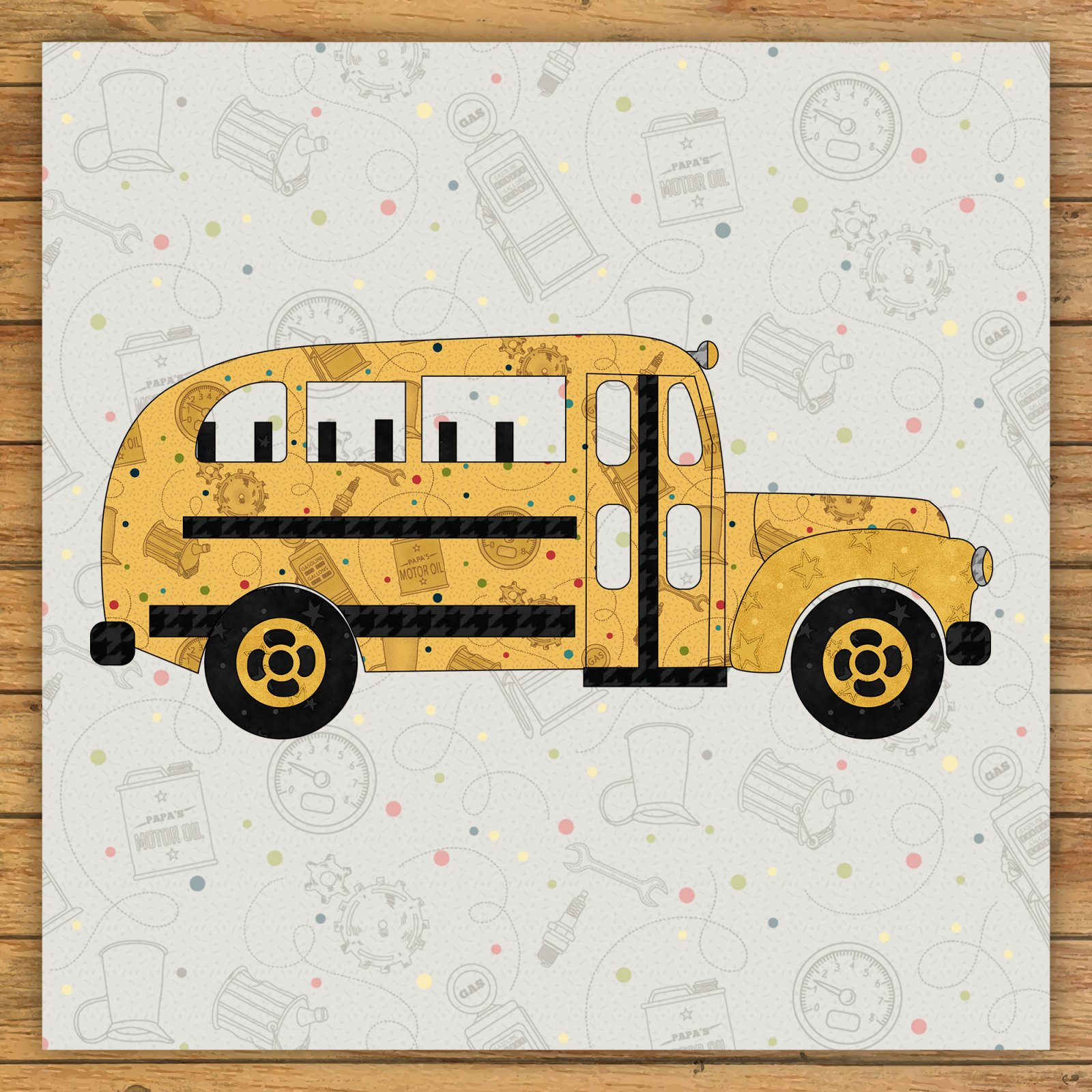 School Bus Precut Fused Applique Kit