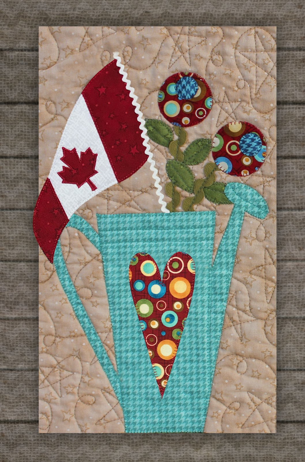 Watering Can & Canadian Flag Precut Fused Applique Kit