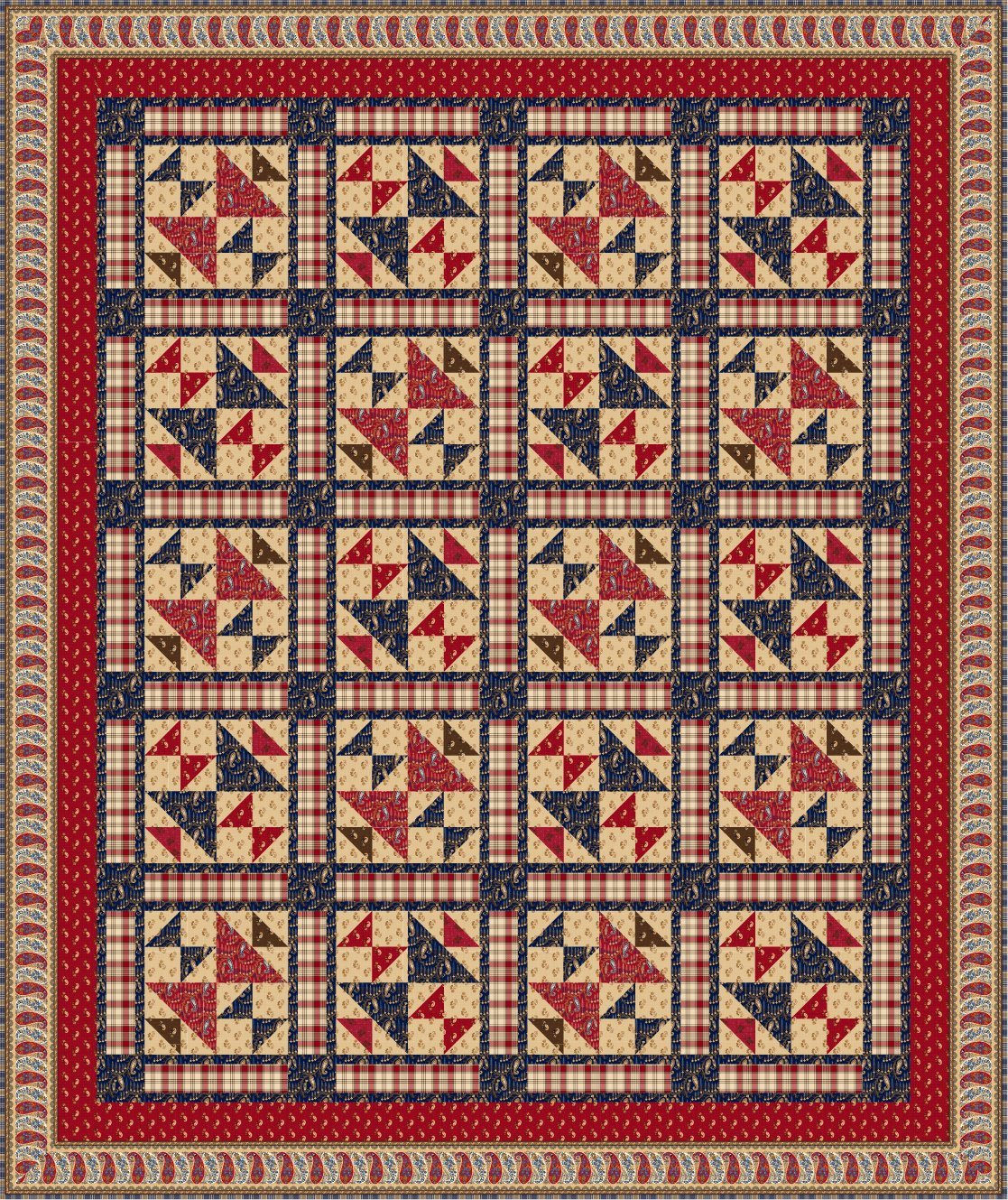 Whispers of Wisdom Pieced Quilt (with Paisley Border)