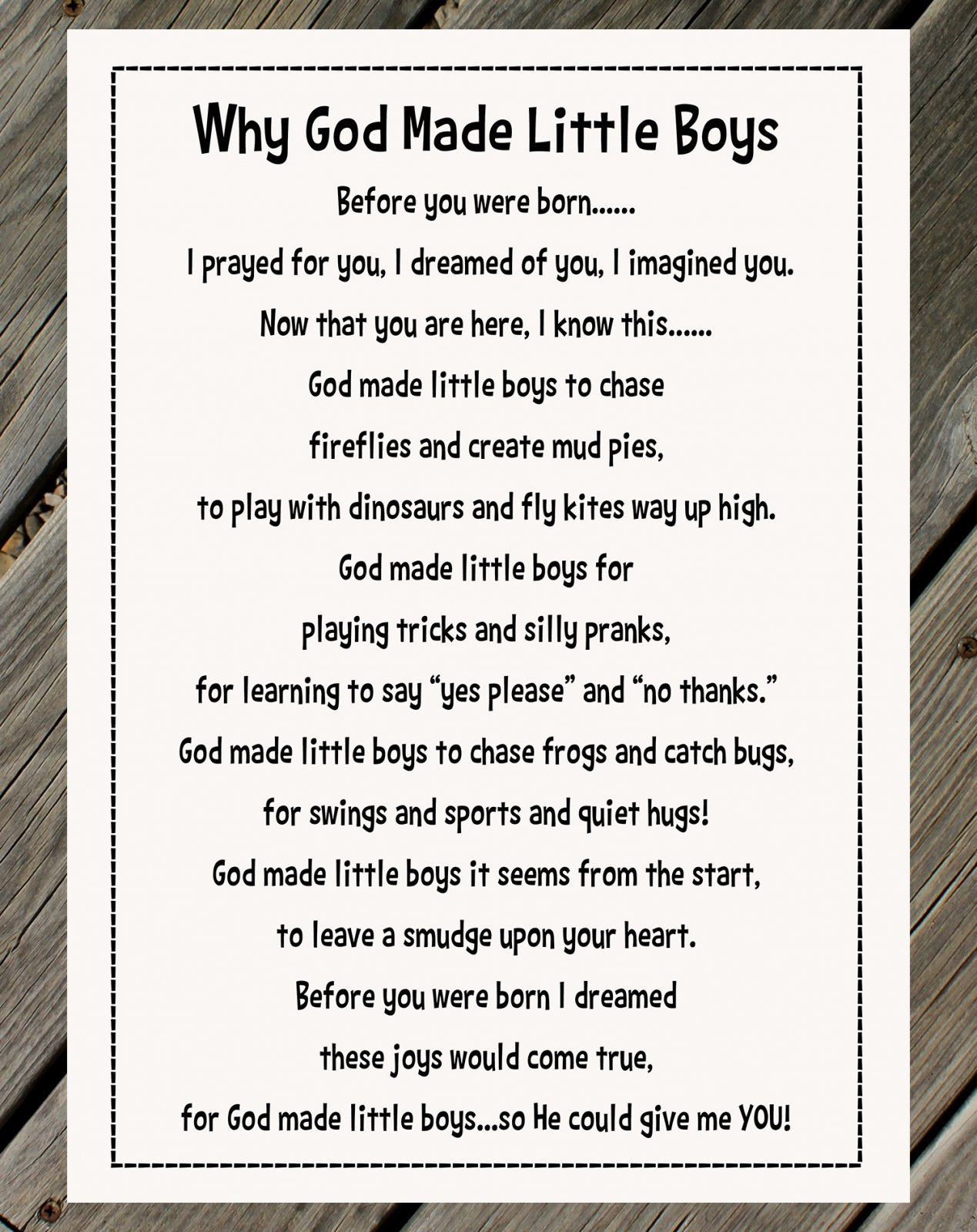 Why God Made Little Boys Panel & Pattern