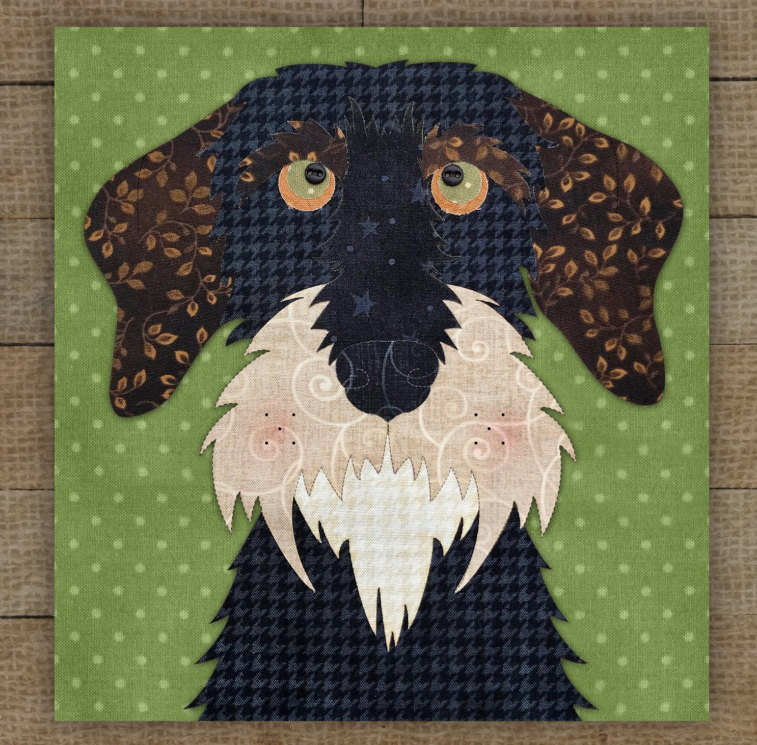 Wire Haired Dachshund Black Precut Fused Applique Kit