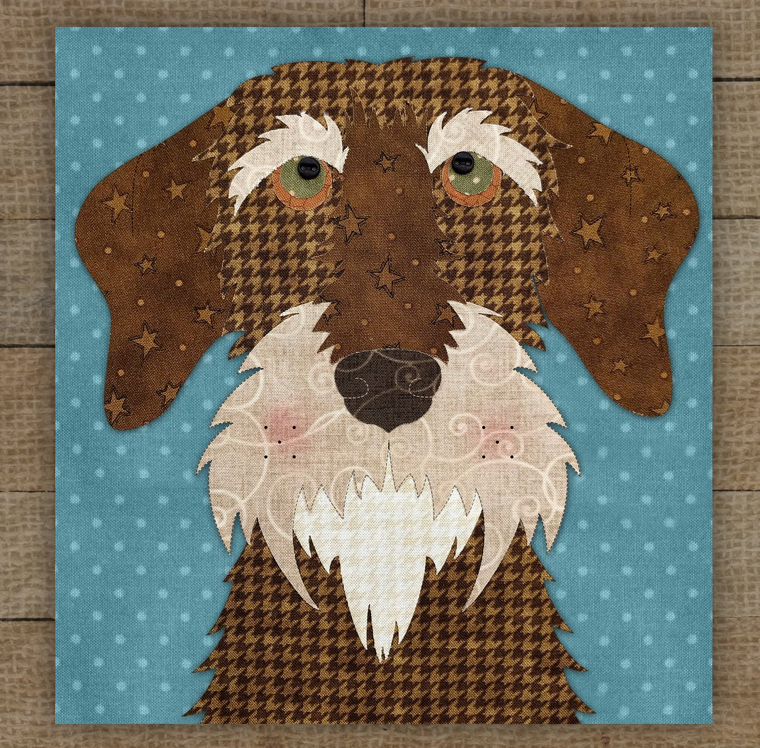 Wire Haired Dachshund Brown Precut Fused Applique Kit
