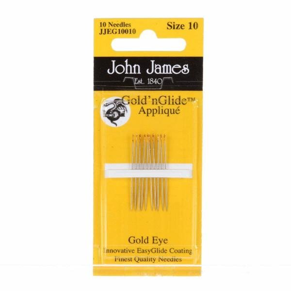 John James Gold' nGlide Applique 10 Needles Size 10