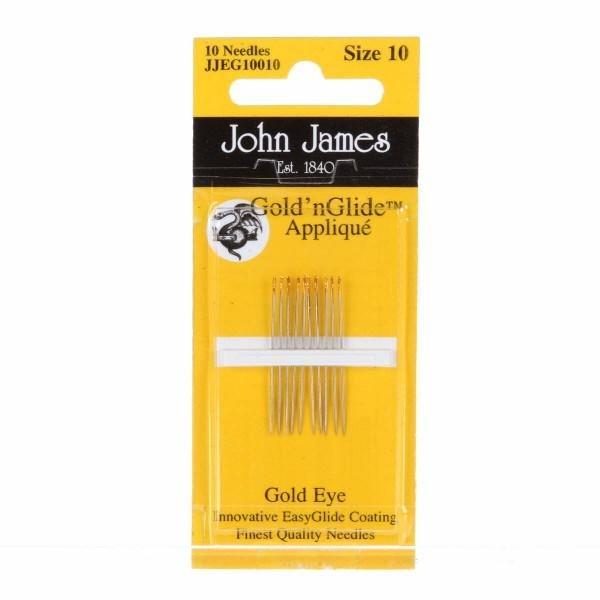 John James Gold' nGlide Applique, 10 Needles, Size 10