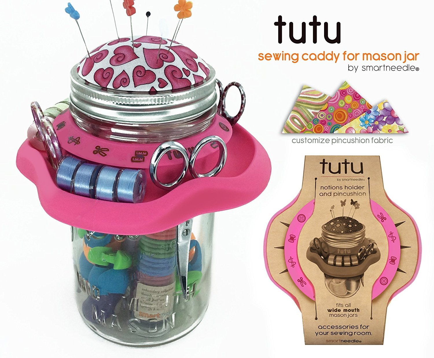 Tutu notions holder and Pin cusion for wide mouth mason jars - Pink