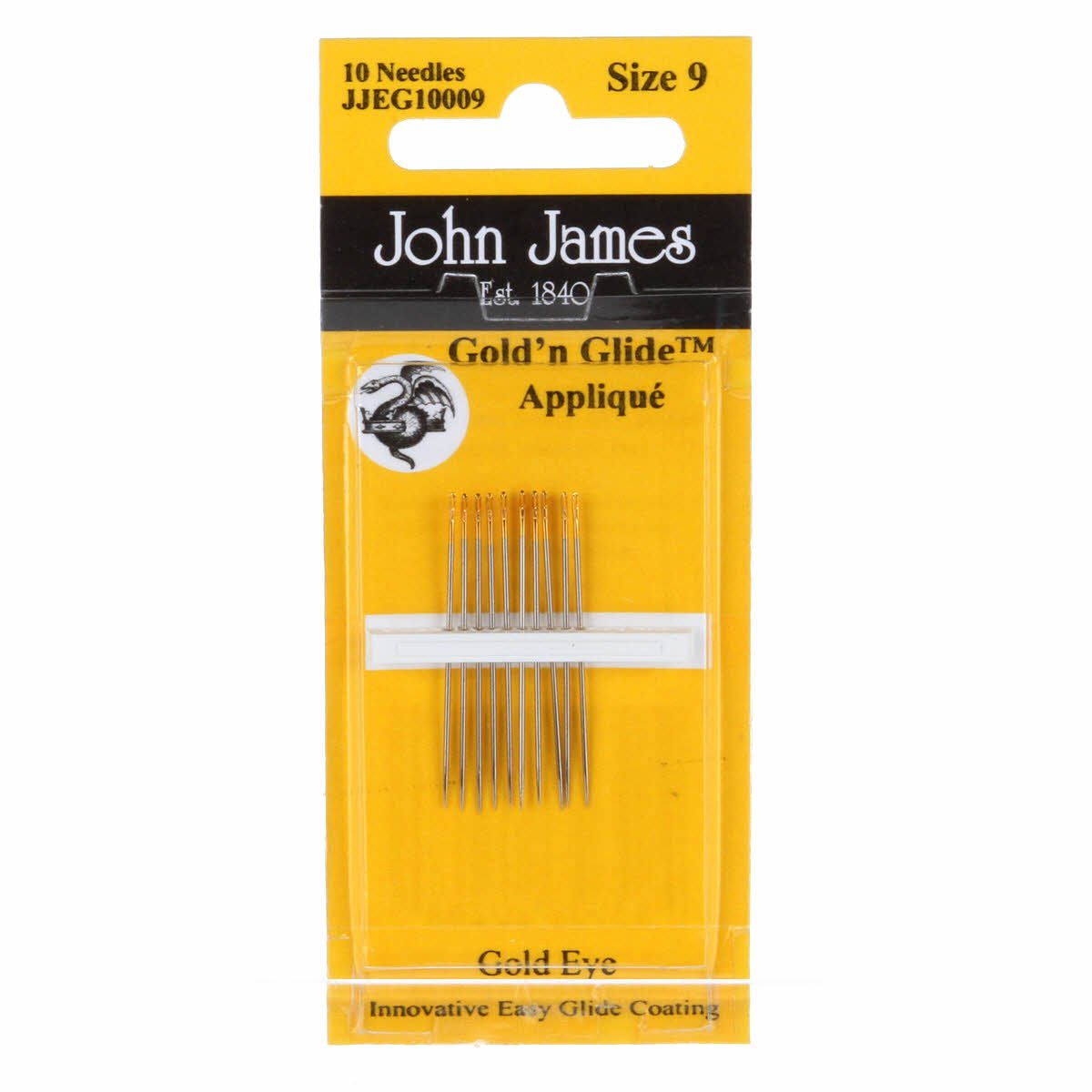 John James Gold' nGlide Applique 10 Needles Size 9