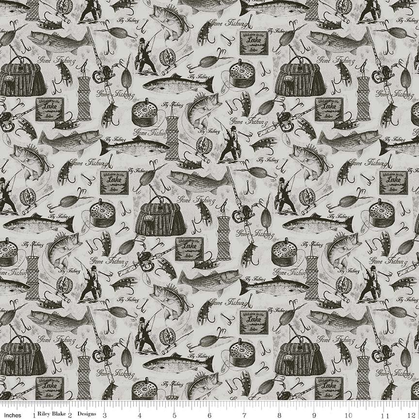 Fishing Lodge by Penny Rose Fabrics C6632-GRAY