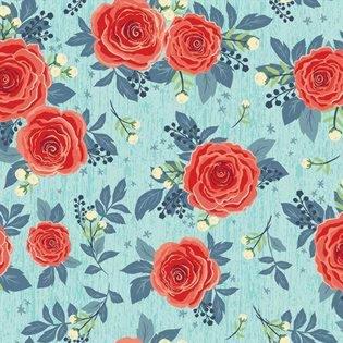 Hedge Rose from Penny Rose Fabrics C7900 AQUA