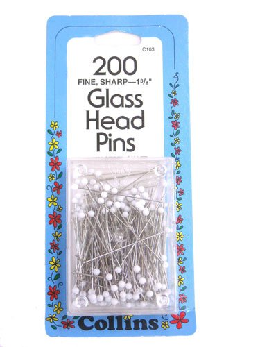 Collins 200 Fine Sharp 1 3/8 Glass Head Pins 200CT 062613